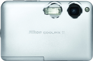 Nikon's Coolpix S1 digital camera. Courtesy of Nikon, with modifications by Michael R. Tomkins. Click for a bigger picture!