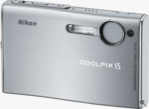 Nikon's Coolpix S5 digital camera. Courtesy of Nikon, with modifications by Michael R. Tomkins. Click for a bigger picture!