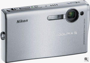 Nikon's Coolpix S6 digital camera. Courtesy of Nikon, with modifications by Michael R. Tomkins. Click for a bigger picture!