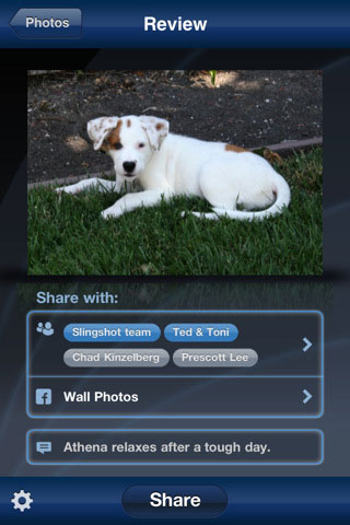 Corel Slingshot helps users share photos on Facebook. Screenshot provided by Corel Corp. Click for a bigger picture!
