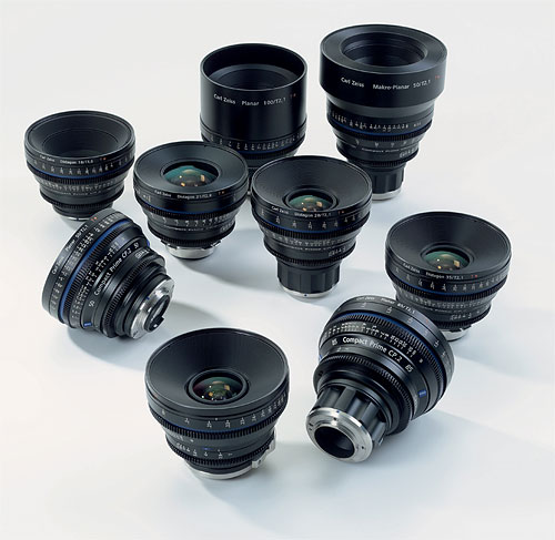 A selection of Carl Zeiss Compact Prime CP.2 lenses. Photo provided by Carl Zeiss AG. Click for a bigger picture!