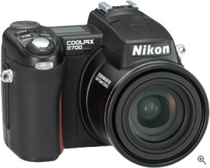 Nikon's Coolpix 8700 digital camera. Courtesy of Nikon, with modifications by Michael R. Tomkins. Click for a bigger picture!