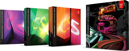 Product packaging for the various Adobe Creative Suite 5.5 bundles. Rendering provided by Adobe Systems Inc. Click for a bigger picture!