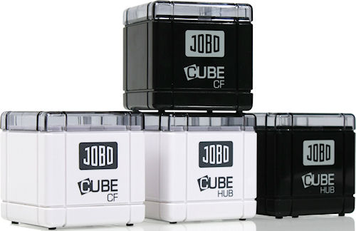 JOBO's CUBE CF and HUB card readers in white and black versions. Photo provided by JOBO AG. Click for a bigger picture!