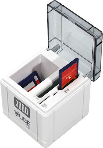 CUBE CF card reader with cover opened to show card slots and storage bay. Photo provided by JOBO AG. Click for a bigger picture!