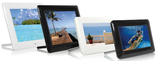 JOBO's Curve 8 (left) and Curve 7 (right) digital frames in both black and white versions. Photo provided by JOBO AG. Click for a bigger picture!
