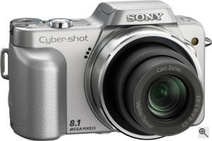 Sony's Cyber-shot DSC-H3 digital camera. Courtesy of Sony, with modifications by Michael R. Tomkins. Click for a bigger picture!