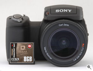 Sony's Cyber-shot DSC-R1 digital camera. Copyright © 2005, The Imaging Resource. All rights reserved. Click for a bigger picture!