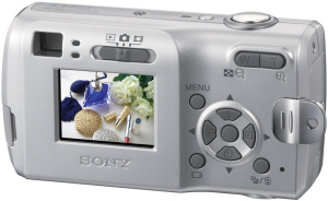 Sony's Cyber-shot DSC-S40 digital camera. Courtesy of Sony, with modifications by Michael R. Tomkins. Click for a bigger picture!