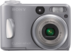 Sony's Cyber-shot DSC-S60 digital camera. Courtesy of Sony, with modifications by Michael R. Tomkins. Click for a bigger picture!
