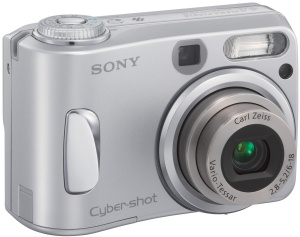 Sony's Cyber-shot DSC-S90 digital camera. Courtesy of Sony, with modifications by Michael R. Tomkins. Click for a bigger picture!