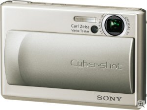 Sony Cyber-shot DSC-T1 digital camera. Courtesy of Sony, with modifications by Michael R. Tomkins. Click for a bigger picture!
