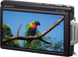 Sony's Cyber-shot DSC-T200 digital camera. Courtesy of Sony, with modifications by Michael R. Tomkins. Click for a bigger picture!