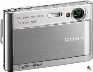 Sony's Cyber-shot DSC-T70 digital camera. Courtesy of Sony, with modifications by Michael R. Tomkins. Click for a bigger picture!