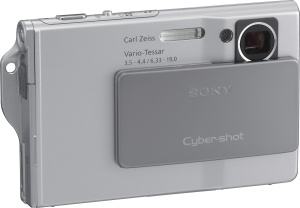 Sony's Cyber-shot DSC-T7 digital camera. Courtesy of Sony, with modifications by Michael R. Tomkins. Click for a bigger picture!