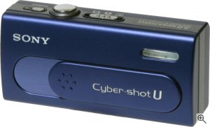 Sony Cyber-shot DSC-U40 digital camera. Courtesy of Sony, with modifications by Michael R. Tomkins. Click for a bigger picture!
