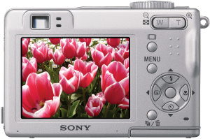 Sony's Cyber-shot DSC-W5 digital camera. Courtesy of Sony, with modifications by Michael R. Tomkins. Click for a bigger picture!