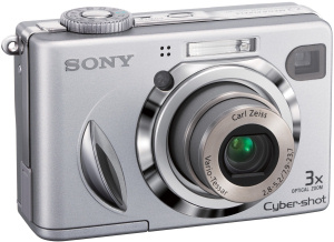 Sony's Cyber-shot DSC-W7 digital camera. Courtesy of Sony, with modifications by Michael R. Tomkins. Click for a bigger picture!