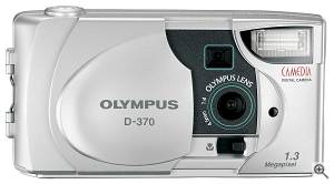 Olympus' D-370 digital camera, front view. Courtesy of  Olympus America Inc. Click for a bigger picture!