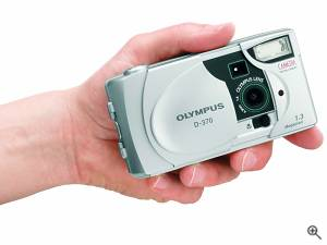 Olympus' D-370 digital camera, shown in-hand for scale.  Courtesy of Olympus America Inc. Click for a bigger picture!