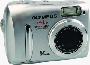 Olympus' Camedia D-535 Zoom digital camera. Courtesy of Olympus, with modifications by Michael R. Tomkins. Click for a bigger picture!