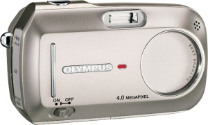 Olympus's D-590 Zoom digital camera. Courtesy of Olympus, with modifications by Michael R. Tomkins. Click for a bigger picture!