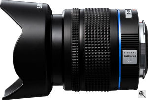 Samsung's Schneider-Kreuznach D-XENON 18-55mm zoom lens. Courtesy of Samsung, with modifications by Michael R. Tomkins. Click for a bigger picture!