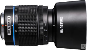 Samsung's Schneider-Kreuznach D-XENON 50-200mm zoom lens. Courtesy of Samsung, with modifications by Michael R. Tomkins. Click for a bigger picture!
