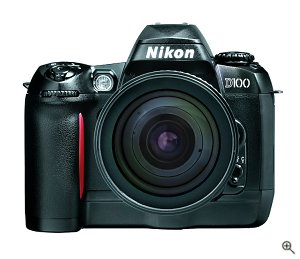 Nikon's D100 digital camera. Courtesy of Nikon Inc., with modifications by Michael R. Tomkins. Click for a bigger picture