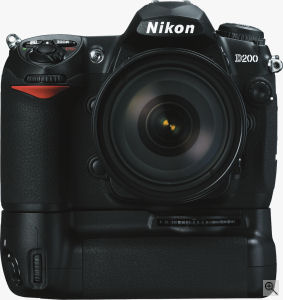 Nikon's D200 digital SLR. Courtesy of Nikon, with modifications by Michael R. Tomkins. Click for a bigger picture!