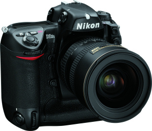 Nikon's D2Hs digital camera. Courtesy of Nikon, with modifications by Michael R. Tomkins. Click for a bigger picture!