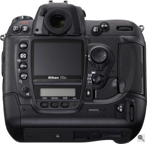 Nikon's D2Xs digital SLR. Courtesy of Nikon, with modifications by Michael R. Tomkins. Click for a bigger picture!