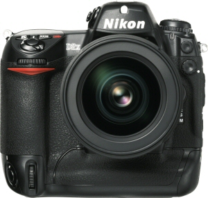 Nikon's D2x digital camera. Courtesy of Nikon, with modifications by Michael R. Tomkins. Click for a bigger picture!