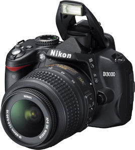 Nikon's D3000 digital SLR. Photo provided by Nikon Inc. Click for a bigger picture!