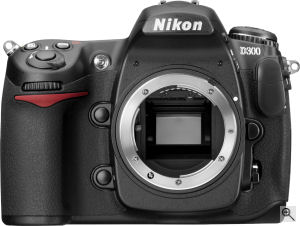 Nikon's D300 digital SLR. Courtesy of Nikon, with modifications by Michael R. Tomkins. Click for a bigger picture!