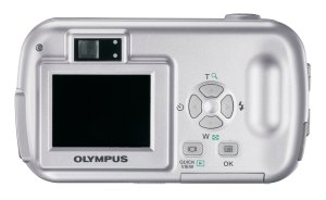 Olympus' D-390 digital camera. Courtesy of Olympus, with modifications by Michael R. Tomkins. Click for a bigger picture!