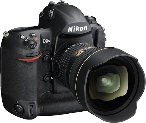 Nikon's D3S digital SLR, shown with AF-S Nikkor 14-24mm f/2.8G ED lens attached. Photo provided by Nikon Inc. Click for a bigger picture!