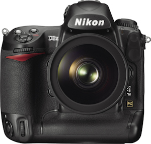 Nikon's D3X digital SLR. Courtesy of Nikon, with modifications by Michael R. Tomkins. Click for a bigger picture!