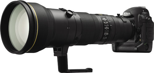 Nikon's D3X digital SLR, shown with AF-S NIKKOR 600mm f/4G ED VR lens attached. Photo provided by Nikon Corp. Click for a bigger picture!