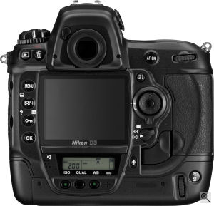 Nikon's D3 digital SLR. Courtesy of Nikon, with modifications by Michael R. Tomkins. Click for a bigger picture!