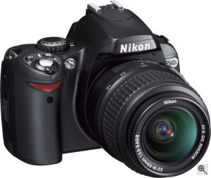Nikon's D40X digital SLR. Courtesy of Nikon, with modifications by Michael R. Tomkins. Click for a bigger picture!