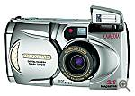 Olympus' D-490Z digital camera, front view with flash and zoom extended - click for a bigger picture!
