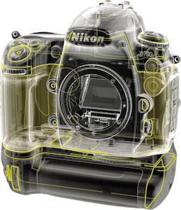 Nikon's D700 digital SLR environmental sealing. Courtesy of Nikon, with modifications by Michael R. Tomkins. Click for a bigger picture!