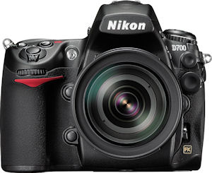 Nikon's D700 digital SLR. Courtesy of Nikon, with modifications by Michael R. Tomkins. Click for a bigger picture!