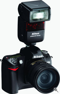 Nikon's D70s digital SLR. Courtesy of Nikon, with modifications by Michael R. Tomkins. Click for a bigger picture!