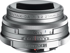 The smc PENTAX-DA 21mm F3.2 AL Limited Silver. Photo provided by Pentax Imaging Co. Click here for a bigger picture!