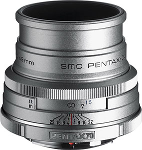 The smc PENTAX-DA 70mm F2.4 Limited Silver. Photo provided by Pentax Imaging Co. Click here for a bigger picture!