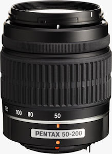 Pentax's smc PENTAX-DA L 50-200mm f/4-5.6 ED lens. Courtesy of Pentax, with modifications by Michael R. Tomkins. Click for a bigger picture!