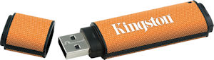 Kingston's 32GB DataTraveler 150 flash drive. Courtesy of Kingston, with modifications by Michael R. Tomkins. Click for a bigger picture!