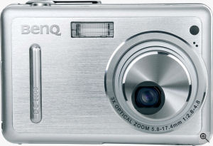 BenQ's DC-E600 digital camera. Courtesy of BenQ, with modifications by Michael R. Tomkins. Click for a bigger picture!